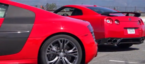 Nissan GT R Track Pack vs Audi R8 V10 Plus