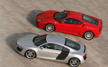 Ferrari F430 y Audi R8