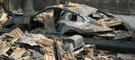 Burned Porsche 911