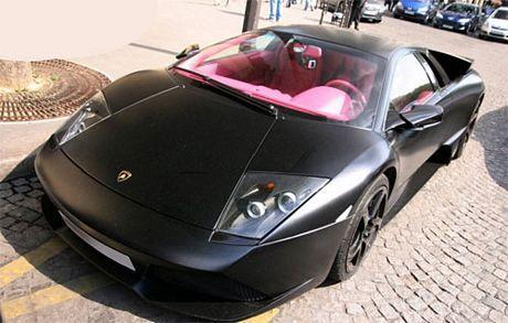 Lamborghini Murcielago Negro Mate E Interior Rosa
