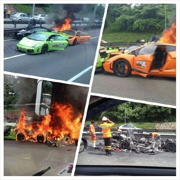 Destrozan dos Lamborghini Gallardo y un Aventador en Malasia 2