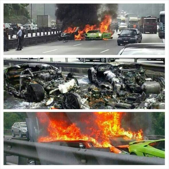 Destrozan dos Lamborghini Gallardo y un Aventador en Malasia 5