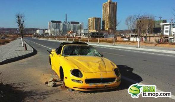 Aparece un Maserati 4200GT Spyder destrozado y abandonado en China 1