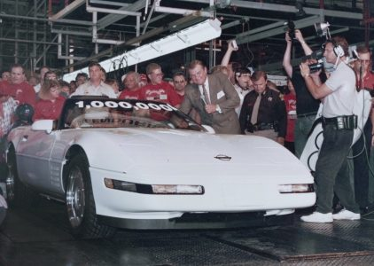 On July 2, 1992, the 1 millionth Chevrolet Corvette rolled off the assembly line in Bowling Green, Ky. It featured a white exterior, a black convertible top and a red interior, just like the first production Corvette in 1953.
