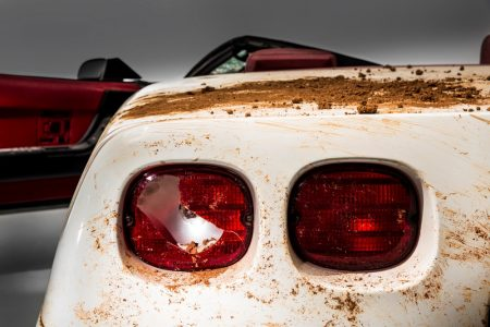 The 1 millionth Corvette produced – this white 1992 convertible – was damaged when it fell into a sinkhole that opened up beneath the National Corvette Museum, in Bowling Green, Ky., on Feb. 12, 2014. This image depicts the as-recovered state of the vehicle.
