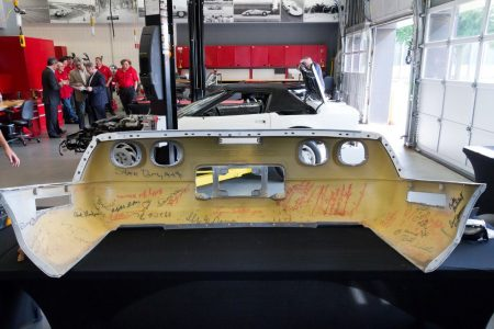 Restoration is underway on the 1 millionth Corvette, a 1992 convertible, that was damaged in the sinkhole that opened up beneath the National Corvette Museum, in Bowling Green, Ky., on Feb. 12, 2014. Completion of the project is scheduled for September.