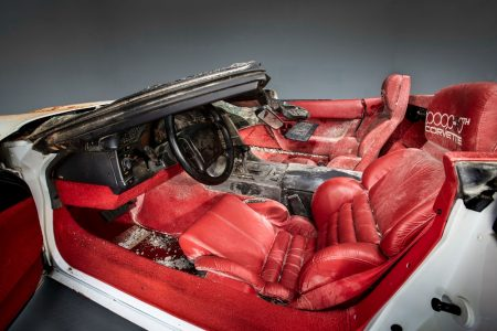 The 1-millionth Corvette produced – this white 1992 convertible – was damaged when it fell into a sinkhole that opened up beneath the National Corvette Museum, in Bowling Green, Ky., on Feb. 12, 2014. This image depicts the as-recovered state of the vehicle.