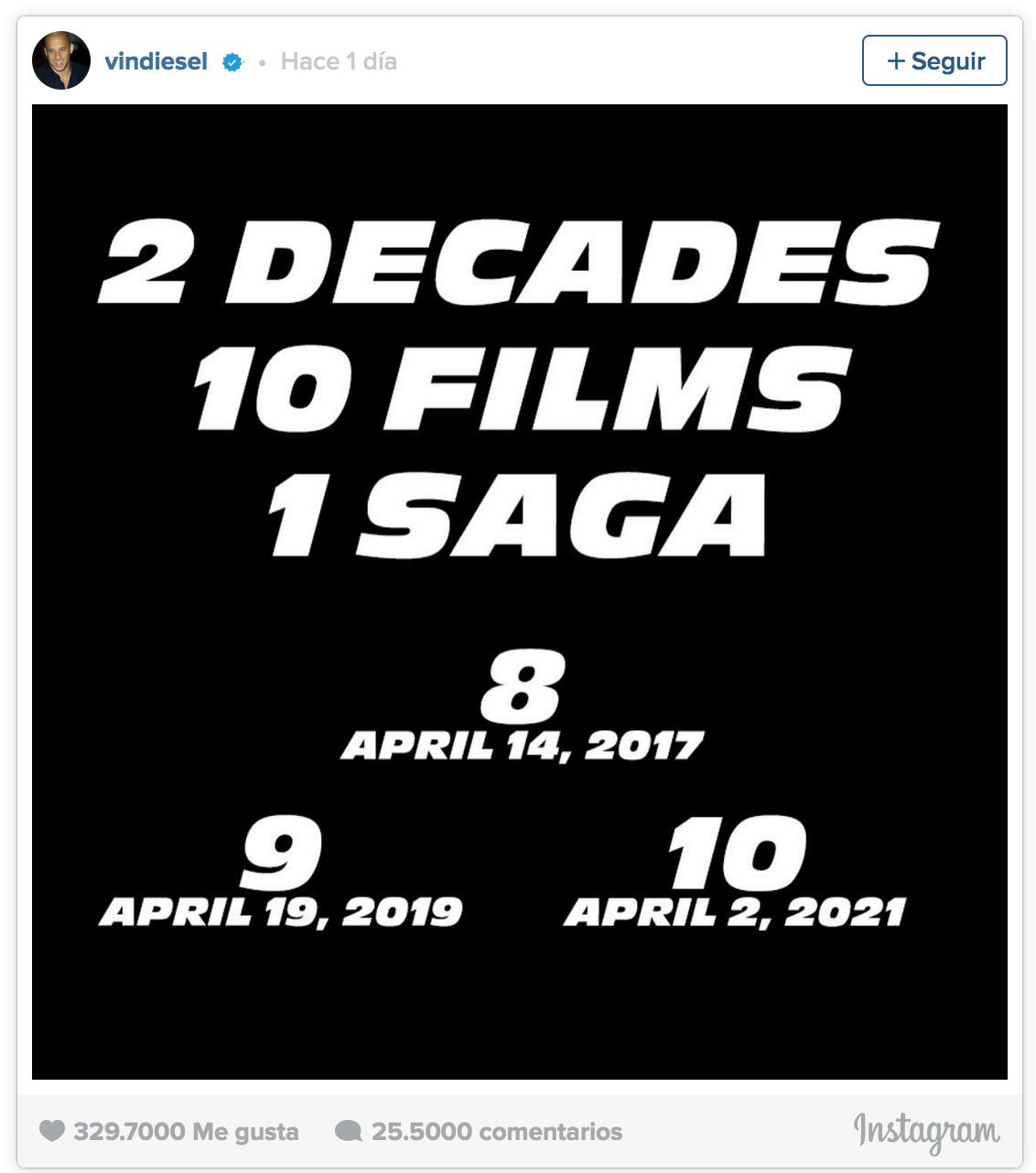 'Fast and Furious' ya tienen fecha de estreno: Habrá un total de diez entregas 1