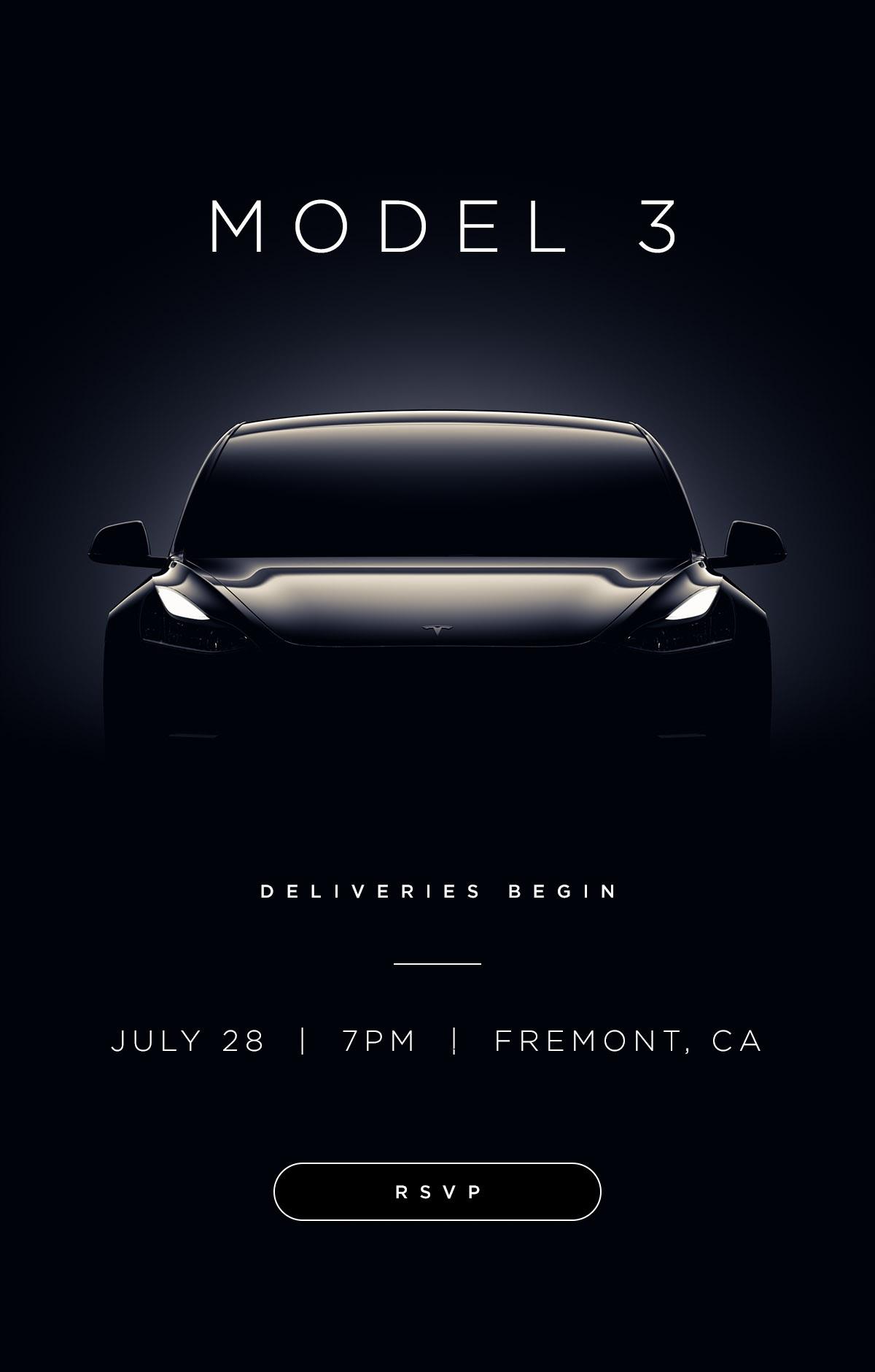 Las primeras unidades del Tesla Model 3 ya tienen fecha de entrega