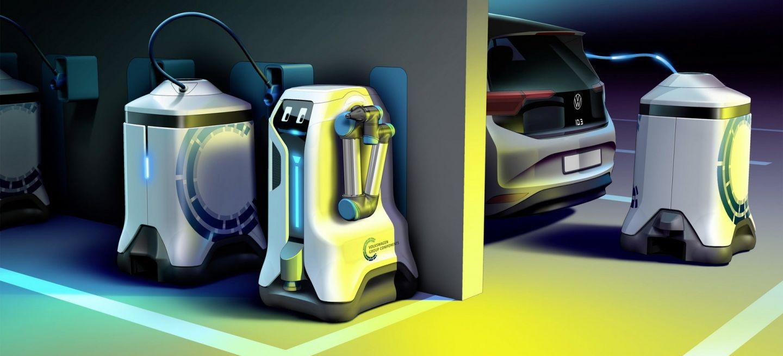 Un robot que carga tu coche eléctrico: así es la última idea de Volkswagen